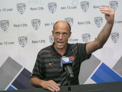 Oregon State head coach Mike Riley takes questions at the 2014 Pac-12 NCAA college football media days at Paramount Studios in Los Angeles Thursday, July 24, 2014. (AP Photo)