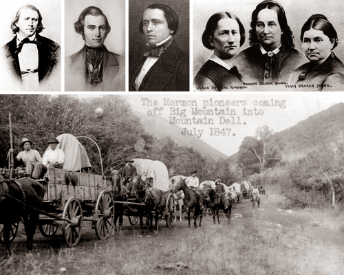 photos from Tribune file and courtesy Utah State Historic Society and Library of Congress  Top row, L-R, are seen Brigham Young, Orson Pratt and Erastus Snow. The three women are Ellen Kimball, Harriet Young and Clarissa Young. Pratt and Snow became the first two members of Brigham Young's wagon train to enter the Salt Lake Valley when they arrived as scouts on July 21, 1847. The three women were the only three women in that first wagon train. The bottom photo shows a wagon train on the Mormon Trail near Mountain Dell during a re-enactment of the trek sometime around 1912. The photo is erroneously captioned as being from July 1847.