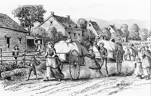 This engraving depicts a scene of a Mormon handcart company passing through a town somewhere on their trek west to Salt Lake City.