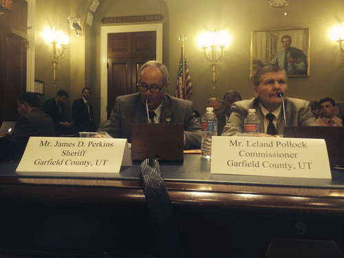 Thomas Burr  |  The Salt Lake Tribune Garfield County Sheriff James D. Perkins and Garfield County Commissioner Leland Pollock testify Thursday before a House Natural Resources subcommittee about abuses by the Bureau of Land Management.