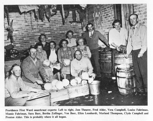 Courtesy photo Shortly after settling the little town of Providence on the south end of Cache Valley, Swiss and German pioneers had a sauerkraut dinner. The tradition continues today.