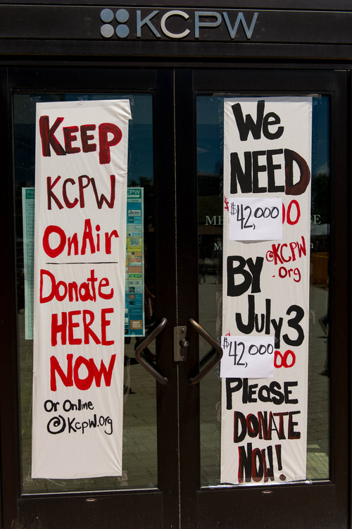 Trent Nelson  |  The Salt Lake Tribune A sign on the offices of KCPW announces a need for donations to keep the radio station on the air, in Salt Lake City in June