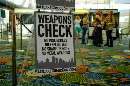 Trent Nelson  |  The Salt Lake Tribune Weapons check at Salt Lake Comic Con in Salt Lake City Saturday, September 7, 2013.