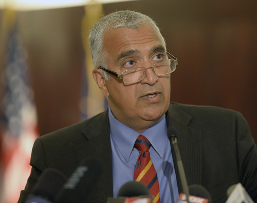 Al Hartmann  |  The Salt Lake Tribune Salt Lake County District Attorney Sim Gill holds a  press conference Thursday, June 19, to announce criminal charges filed against a Shaun Cowley in the 2012 shooting of 21-year-old Danielle Willard.