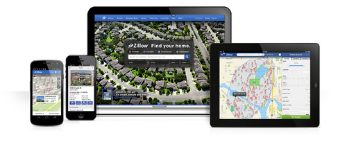 This product image provided by real estate website operator Zillow shows the Zillow app on various mobile platforms. Zillow is buying competitor Trulia in a $3.5 billion all-stock deal. Trulia's stock rose more than 14 percent in premarket trading on Monday, July 28, 2014, while Zillow's stock fell more than 3 percent. (AP Photo/Zillow)