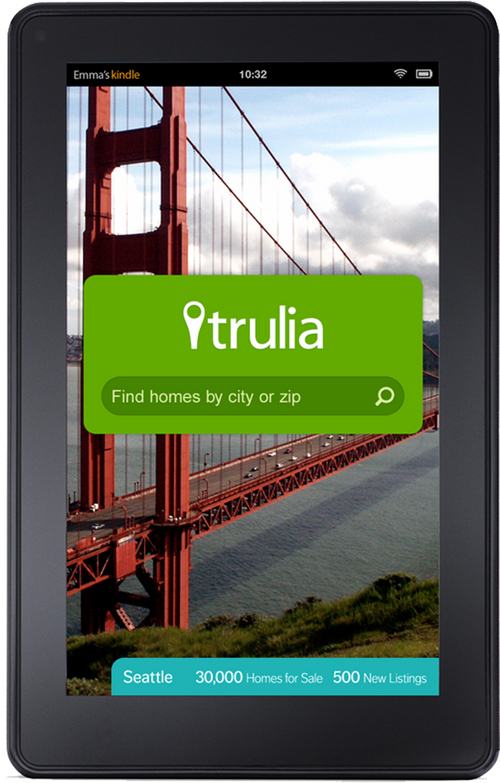 This image provided by real estate website operator Trulia shows the Trulia Kindle Fire app. Zillow is buying competitor Trulia in a $3.5 billion all-stock deal. Trulia's stock rose more than 14 percent in premarket trading on Monday, July 28, 2014, while Zillow's stock fell more than 3 percent. (AP Photo/Zillow)
