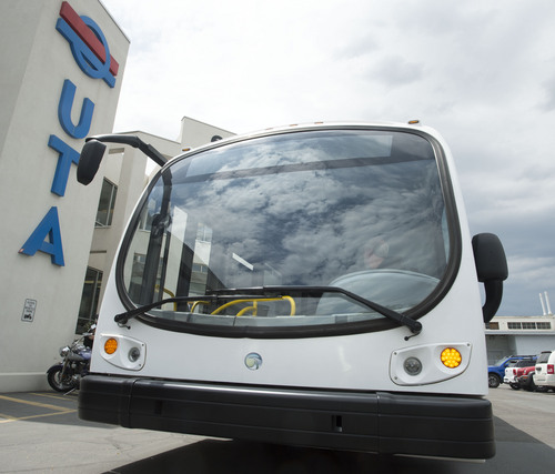 Steve Griffin  |  The Salt Lake Tribune   A Proterra battery electric 40-foot bus at UTA offices in Salt Lake City, Utah Monday, July 28, 2014. UTA is considering buying some of the $825,000 buses.