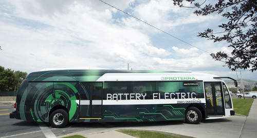 Steve Griffin  |  The Salt Lake Tribune   UTA officials ride around town in a Proterra battery electric 40-foot bus at UTA offices in Salt Lake City, Utah Monday, July 28, 2014. UTA is considering buying some of the $825,000 buses.