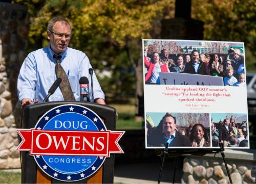 Trent Nelson  |  The Salt Lake Tribune Outgoing Rep. Jim Matheson formally endorsed candidate Doug Owens, the Democrat seeking to replace him, at a press event in South Jordan, Tuesday June 3, 2014.