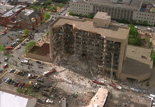 The north side of the Alfred Murrah Federal Building in Oklahoma City is missing after what federal authorities believe to be a car bomb exploded Wednesday, April 19, 1995. (AP Photo)