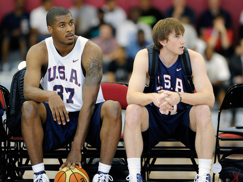 Derrick Favors, left and Gordon Hayward of the 2012 USA Men's Select Team attend practice at the Mendenhall Center on Saturday, July 8, 2012 in Las Vegas. (Photo by David Becker)