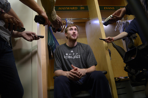 Scott Sommerdorf   |  The Salt Lake Tribune Utah Jazz guard Gordon Hayward speaks to the media on the day the Jazz clean out their lockers after a disappointing 25-57 season, Thursday, April 17, 2014.