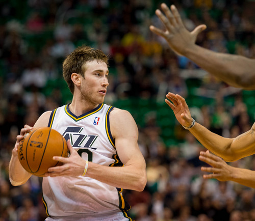 Trent Nelson  |  The Salt Lake Tribune Utah Jazz guard Gordon Hayward (20), as the Utah Jazz face the Memphis Grizzlies, NBA basketball at EnergySolutions Arena in Salt Lake City, Wednesday, March 26, 2014.