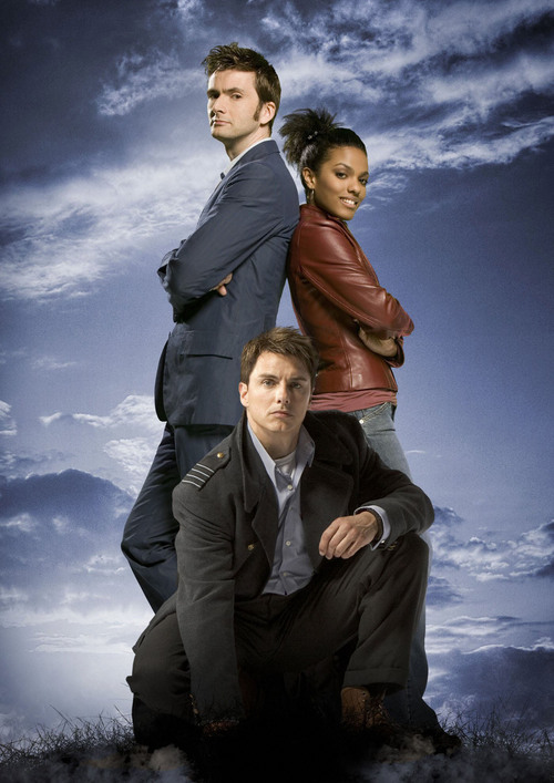 "Pictured: (l-r) David Tennant as The Doctor, John Barrowman as Captain Jack and Freema Agyman as Martha Jones in ""Doctor Who.""  SCI FI Channel Photo"