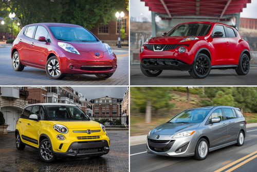 HOLD FOR RELEASE UNTIL 12:01 A.M. EDT WEDNESDAY, JULY 30. THIS PHOTO MAY NOT BE PUBLISHED, BROADCAST OR POSTED ONLINE BEFORE 12:01 A.M. EDT WEDNESDAY - This combination made with photos provided by Nissan, Mazda and Fiat shows, clockwise from top left: the 2014 Nissan Leaf, the 2014 Nissan Juke, the 2014 Mazda5 wagon, and the 2014 Fiat 500L. These four vehicles fared worst in frontal crash tests performed by the Insurance Institute for Highway Safety, an Arlington, Va.-based safety group that's funded by insurers. (AP Photo)
