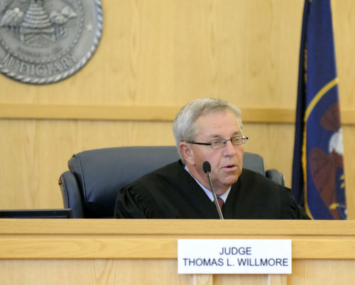 Eli Lucero  |  Pool Photo  Judge Thomas Willmore speaks to Jason Burr during a hearing, Wednesday in First District Court. Burr plead guilty to three felonies from an incident when he entered the Cache Valley Hospital with loaded guns.