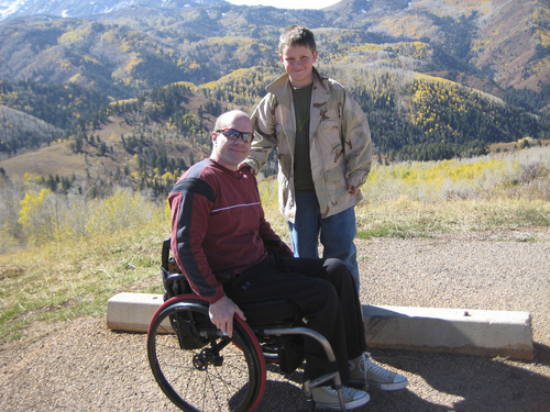 | Courtesy Gillespie Family  David Gillespie and his son Eric Gillespie visit the Mount Nebo Scenic Byway in 2011. Eric's video about his father completing marathons despite being paralyzed won a national award in the PTA Reflections contest this year.