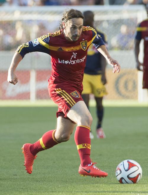 Rick Egan  |  The Salt Lake Tribune  Real Salt Lake midfielder Ned Grabavoy (20), in MLS action at Rio Tinto Stadium, Wednesday, July 30, 2014