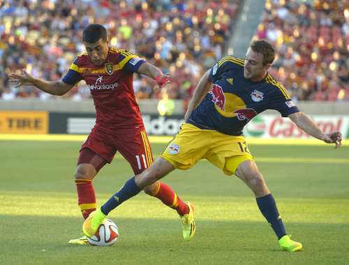 Rick Egan  |  The Salt Lake Tribune  Real Salt Lake midfielder Javier Morales (11) goes after the ball, along with New York Red Bulls midfielder Eric Alexander (12), in MLS action at Rio Tinto Stadium, Wednesday, July 30, 2014