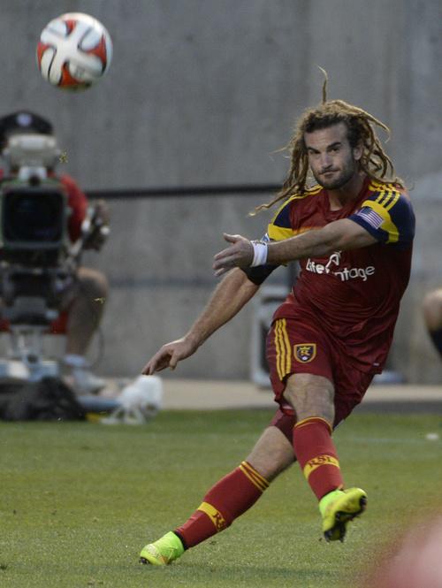 Rick Egan  |  The Salt Lake Tribune  Real Salt Lake midfielder Kyle Beckerman (5) in MLS action at Rio Tinto Stadium, Wednesday, July 30, 2014