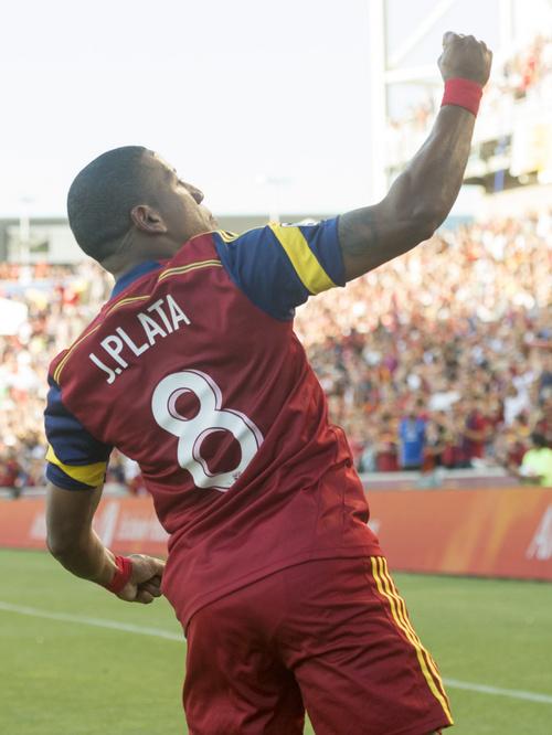 Rick Egan  |  The Salt Lake Tribune  Real Salt Lake forward Jou Plata (8) celebrates his first period goal, in MLS action at Rio Tinto Stadium, Wednesday, July 30, 2014