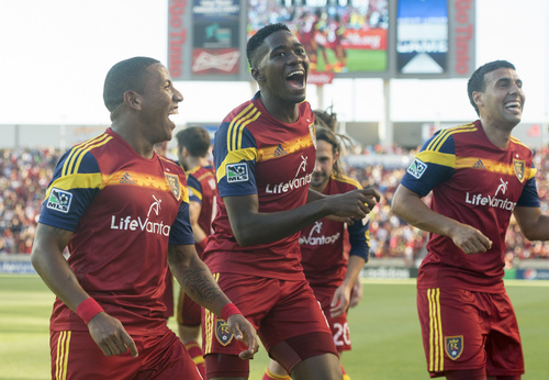Rick Egan  |  The Salt Lake Tribune  Real Salt Lake forward Jou Plata (8) does a dance along with Real Salt Lake forward Olmes Garcia (13) and Real Salt Lake midfielder Javier Morales (11), as they celebrate Plata's first period goal, in MLS action at Rio Tinto Stadium, Wednesday, July 30, 2014