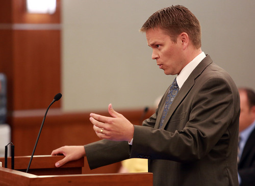 Kristin Murphy | Pool District attorney Nathan J. Evershed speaks during the second day of a preliminary hearing in the case of State of Utah vs. John Martin Carrell in 3rd District Court in West Jordan on Thursday, July 31, 2014. Carrell, a former Canyons School District bus driver, is charged with 23 counts of aggravated sexual abuse of a child involving one girl and 10 counts, one of them attempted, involving another.