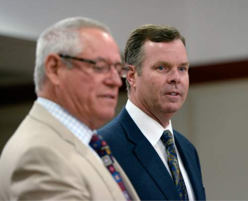 Al Hartmann  |  The Salt Lake Tribune  Former Attorney General John Swallow, right, and his attorney Stephen McCaughey enter Judge Royal Hansen's courtroom in Salt Lake City Wednesday July 30.  Swallow along with former attorney general Mark Shurtleff are charged with receiving or soliciting bribes, accepting gifts, tampering with evidence, obstructing justice and participating in a pattern of unlawful conduct.