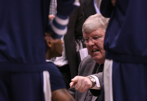 Leah Hogsten  |  The Salt Lake Tribune Utah State Aggies head coach Stew Morrill during a timeout. Brigham Young University Cougars defeated Utah State University Aggies 70-68 in Provo, February 19, 2013.