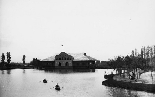 photo courtesy Utah State Historical Society  A view across the pond of the Wandamere Dance Pavilion, May 17, 1907.