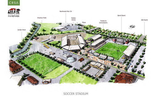 Courtesy image A rendering of the proposed soccer stadium at the Utah State Fairpark.