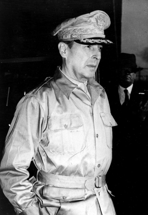 U.S. Gen. Douglas MacArthur, commander of the Southwest Pacific Theater, arrives in Melbourne, Australia, after his journey by torpedo-boat and bomber from the Philippines in April, 1942 during World War II.   (AP Photo)
