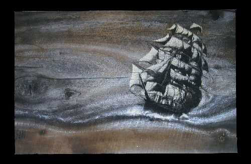 "Courtesy Larry Nielson Utah Artist Larry Nielson was robbed of 24 works of art. He has offered a reward for information leading to their recovery. Pictured is ""Sailing Ship on the Ocean,"" one of the works that was taken."