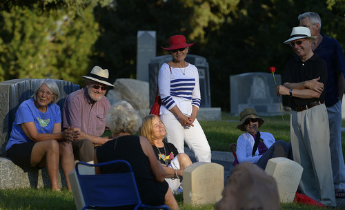 Leah Hogsten  |  The Salt Lake Tribune Peggy Battin and friends read poetry and tell loving stories of her husband Brooke Hopkins' July 30, 2014 in the Salt Lake City Cemetery on the eve of the one-year anniversary of his passing. Hopkins battled through pain after a paralyzing 2008 bicycle injury to keep writing, resume teaching while enduring constant pain, infections and setbacks.
