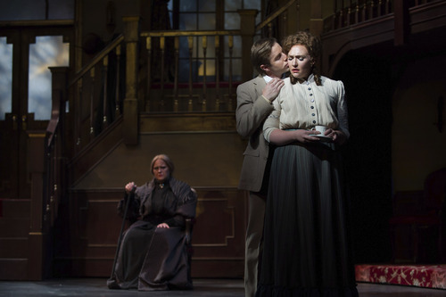 Courtesy Photo  Andrew Bidlack as Anatol and Alice-Anne M. Light as Erika, with Amanda Tarver as the Baroness in the background.