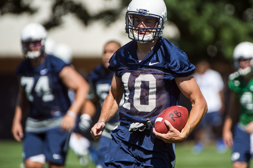 Chris Detrick  |  The Salt Lake Tribune Brigham Young Cougars wide receiver Mitch Mathews (10) during a practice at Richards Building Fields Friday August 1, 2014.