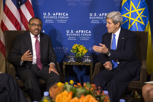 Secretary of State John Kerry meets with Ethiopian Prime Minister Hailemariam Desalegn during the U.S. Africa Leaders Summit in Washington, Tuesday, Aug. 5, 2014. Nearly 50 African heads of state are gathering in Washington for an unprecedented summit to promote business development. (AP Photo/ Evan Vucci)