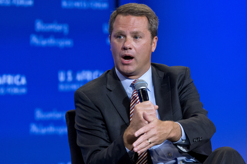 """Wal-Mart President and CEO Doug McMillon speaks during the panel, """"The New Era for Business in Africa"""" at the U.S.-Africa Business Forum during the U.S.-Africa Leaders Summit at the Mandarin Oriental Hotel in Washington,Tuesday, Aug. 5, 2014. Nearly 50 African heads of state are gathering in Washington for an unprecedented summit. (AP Photo/Jacquelyn Martin)"""