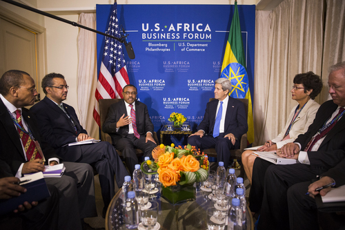 Secretary of State John Kerry meets with Ethiopian Prime Minister Hailemariam Desalegn, third from left, and others, during the U.S. Africa Leaders Summit in Washington, Tuesday, Aug. 5, 2014. Nearly 50 African heads of state are gathering in Washington for an unprecedented summit to promote business development. (AP Photo/ Evan Vucci)