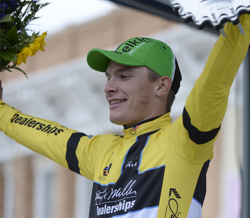 Al Hartmann  |  The Salt Lake Tribune  Moreno Hofland team Belkin raises arms in triumph upon putting on the yellow jersey and winning the first stage of Tour Utah in Cedar City Monday August 4.