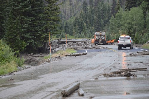 Courtesy Emery County Sheriff's Office SR 31 in Huntington Canyon remains closed after yesterdayís storms over the Seeley Fire burn scar resulted in debris flows and flooding. The road is closed between MP23 and MP33.
