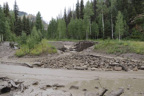 | Courtesy Emery County Sheriff's Office   SR 31 in Huntington Canyon remains closed after yesterday's storms over the Seeley Fire burn scar resulted in debris flows and flooding. The road is closed between MP23 and MP33.