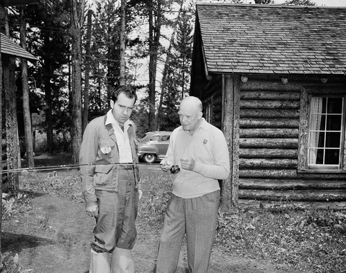 The Republican presidential nominee, Gen. Dwight D. Eisenhower (right), shows his running mate, California Sen. Richard M. Nixon, how to cast for fish and bring them in during interlude at Eisenhower?s vacation retreat near Fraser, Colo. on July 27, 1952.   Ike ended his vacation the next day when he and Nixon, GOP vice presidential nominee, conferred on campaign strategy they hope will net them the nation?s votes in November.   (AP Photo)