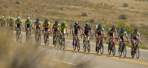 Leah Hogsten  |  The Salt Lake Tribune  2014 Tour of Utah cyclists pass by Utah Lake near Pelican Point during Wednesday's 118.3-mile stage from Lehi to Miller Motorsports Park in Tooele on Wednesday, August 6, 2014.