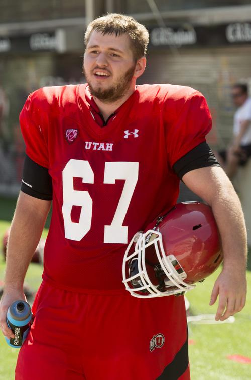 Rick Egan     The Salt Lake Tribune  Logan Stott, at practice, at Rice Eccles Stadium, Wednesday, August 6, 2014