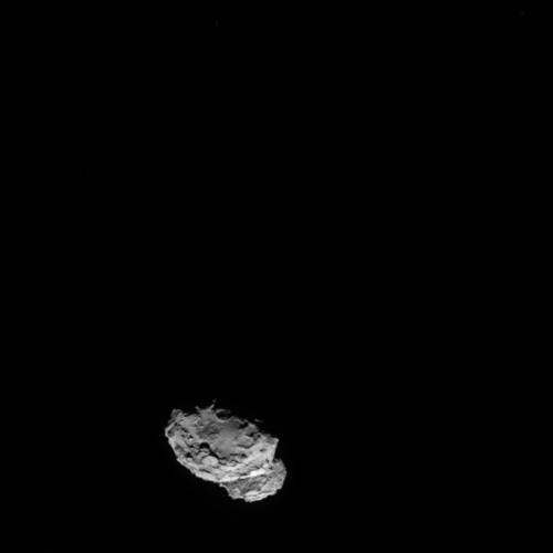 In this picture taken on Aug. 4, 2014 by Rosetta's OSIRIS narrow-angle camera Comet 67P/Churyumov-Gerasimenko is pictured from a distance of 234 kms. A mission to land the first space probe on a comet reaches a major milestone when the unmanned Rosetta spacecraft finally catches up with its quarry on Wednesday Aug 6, 2014. It's a hotly anticipated rendezvous: Rosetta flew into space more than a decade ago and had to perform a series of complex maneuvers to gain enough speed to chase down the comet on its orbit around the sun. The resolution has therefore been increased from 1024 x 1024 to 2048 x 2048 pixels. (AP Photo/ESA/Rosetta/MPS for OSIRIS Team )