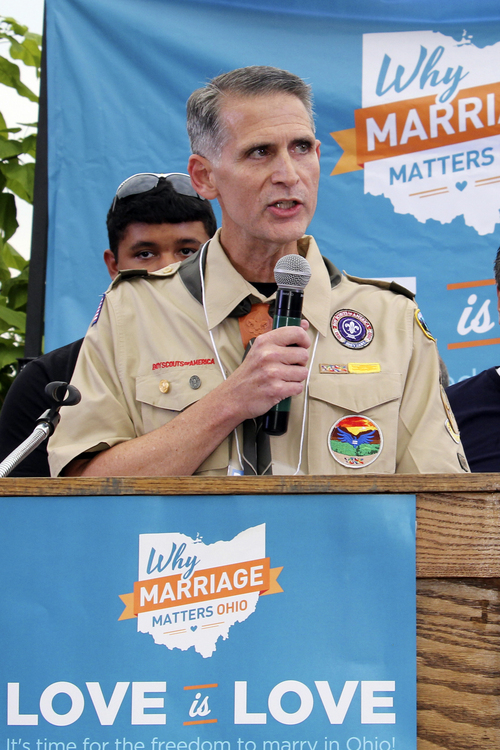 Gay marriage supporter Greg Bourke speaks to fellow supporters during a rally in support of gay marriage in downtown Cincinnati, Tuesday, Aug. 5, 2014. Bourke is one of the plaintiffs for a case being argued before The 6th U.S. Circuit Court of Appeals in Cincinnati on Wednesday. (AP Photo/Tom Uhlman)