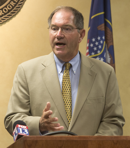 Rick Egan  |  The Salt Lake Tribune  Mayor Bob Stevenson, Layton, along with Mayors for six of the 11 Utah cities involved in UTOPIA, announce a November citizens ballot on what to do with the high-speed network at West Valley City Hall Wednesday, August 6, 2014.