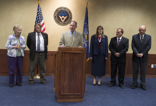 Rick Egan  |  The Salt Lake Tribune  Mayors for six of the 11 Utah cities involved in UTOPIA, announce a November citizens ballot on what to do with the high-speed network at West Valley City Hall Wednesday, August 6, 2014. Mayors from left to right, JoAnn Seghini, Midvale, Roger Fridal, Tremonton, Bob Stevenson, Layton, Karen Cronin, Perry, Tyler Vincent, Brigham City, and Ron Bigelow, West Valley City,