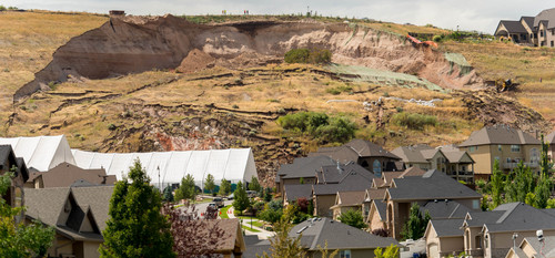 Trent Nelson  |  The Salt Lake Tribune A large landslide in North Salt Lake destroyed one home and caused the evacuation of dozens more, Tuesday August 5, 2014.